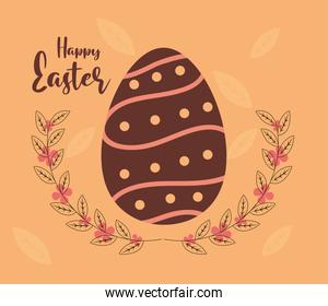 happy easter egg foliage delicate decoration