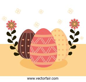 happy easter delicate eggs decoration and ornament floral