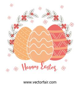 happy easter lettering and eggs decoration flowers