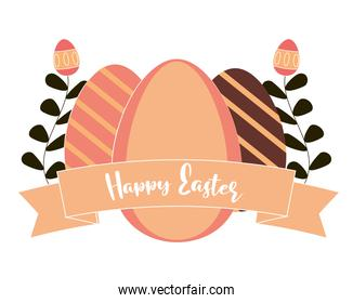 happy easter cute eggs and floral decoration