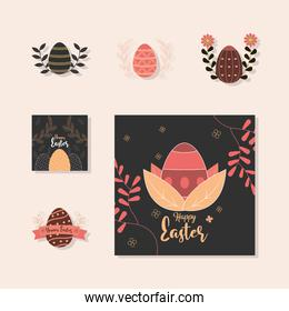 set happy easter icon eggs decoration flowers floral