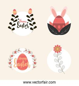 set happy easter with eggs flower flora leaves decoration