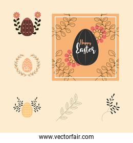 set happy easter greeting card egg flowers leaves decoration