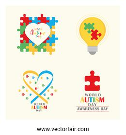 set world autism awareness day, bulb heart ribbon and puzzles icon
