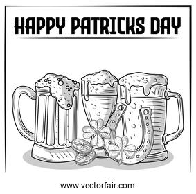 happy patricks day beer coins horseshoe and clover sketch design