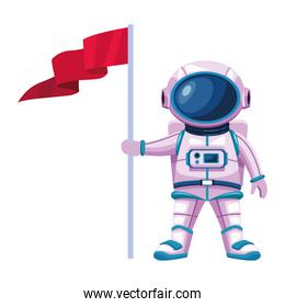 astronaut with suit and flag character