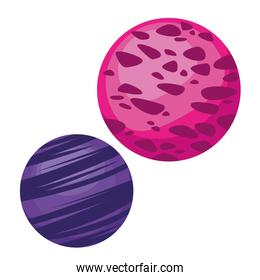space planets pink and purple colors icons