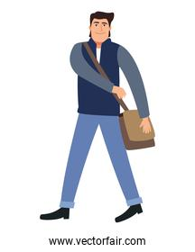 businessman with bag walking back to office