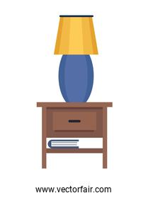 lamp in wooden drawer isolated icon