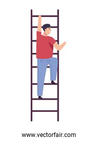 young man climbing stairs up character
