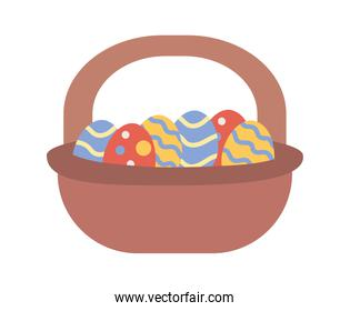 basket with easter eggs painted icon