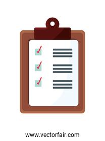 checklist clipboard document wooden  isolated icon