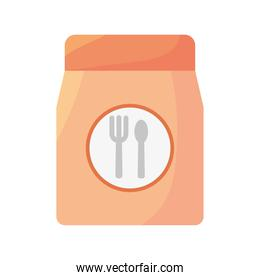 food paper bag with cutleries icon