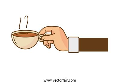 hand lifting coffee drink hot in ceramic cup isolated icon