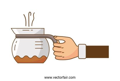 hand lifting coffee drink in teapot icon