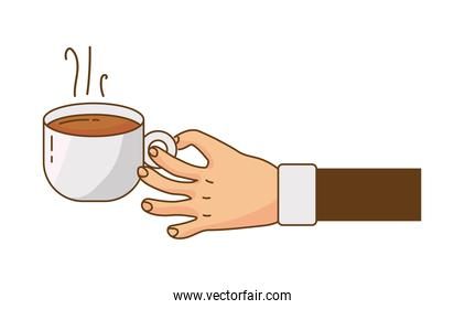 hand lifting hot coffee drink in ceramic cup isolated icon