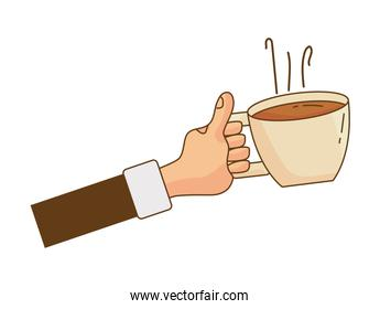 hand lifting coffee drink in ceramic cup isolated icon