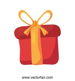 happy birthday red gift with yellow ribbon isolated icon