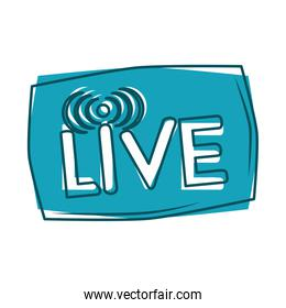 live internet stream button blue design