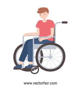 disabled young man in wheelchair isolated