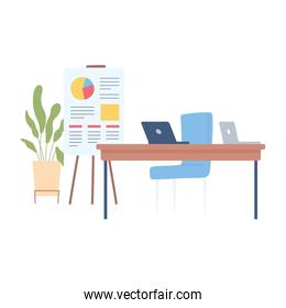 office workspace desk chair laptop presentation board and plant