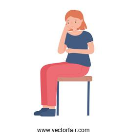 young woman character sitting on chair