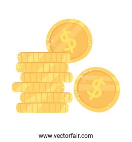 stacked coins money cash isolated