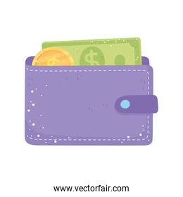 wallet with banknote and coin money isolated