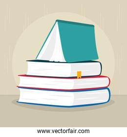 book standing on stack of books, flat style