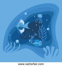 Blue fishes animals and corals vector design