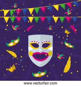 carnival mask with icon set and banner pennant vector design