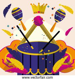 carnival drum with guitars maracas and crown vector design