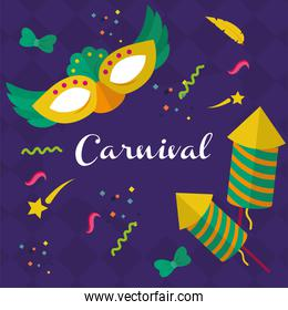 carnival mask with fireworks vector design