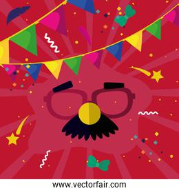 carnival mask with banner pennant vector design