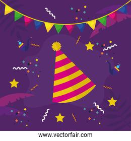 carnival hat with banner pennant and confetti vector design