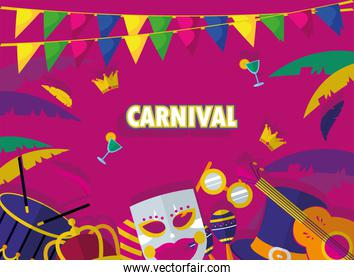 carnival icon set with banner pennant vector design