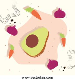 Avocado with healthy and organic food icons vector design