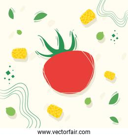 Tomato with healthy and organic food icon set vector design