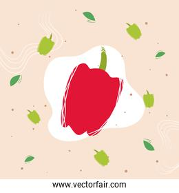 Pepper vegetable with leaves vector design
