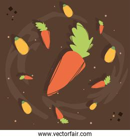 Carrot with healthy and organic food icon set vector design