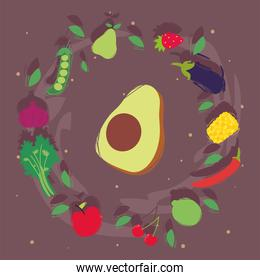 Avocado with healthy and organic food icon set vector design