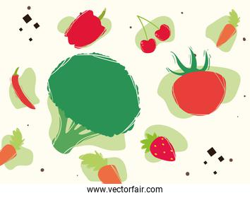 Broccoli with healthy and organic food icon set vector design