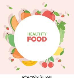 Healthy food fruits collection around circle vector design