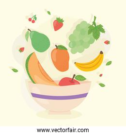 Healthy food bowl with fruits vector design