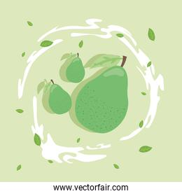 Healthy food pears fruits vector design