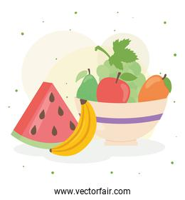 watermelon and banana fruit with healthy food bowl vector design
