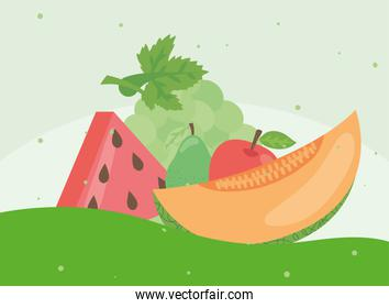 Healthy food fruits icon group vector design