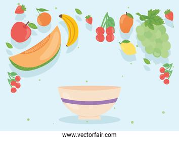 Healthy food fruits set with bowl vector design