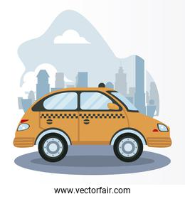 taxi car vehicle on the city scene icon