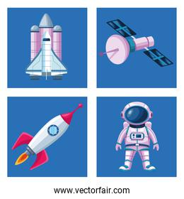 bundle of four space   icons